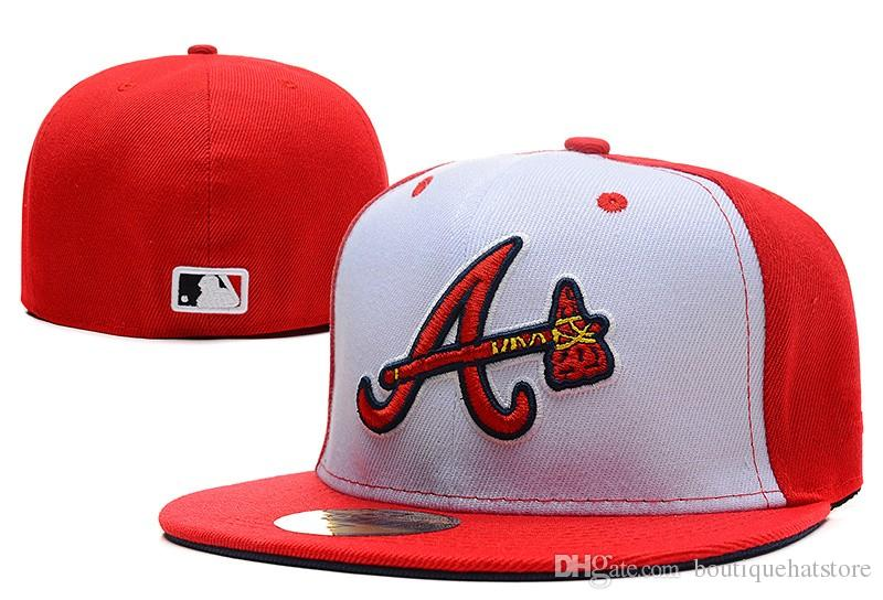 d6ce9df232c Men S Braves Fitted Hat Flat Embroiered Team A Letter Logo Fans Baseball  Hats Cheap Baseball Caps Braves White Red Color Full Closed Cap Design Your  Own Hat ...