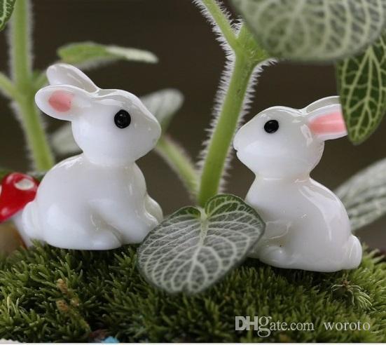 Jardim de fadas Em Miniatura coelhinho coelho cor branca artificial mini coelhos decorações resina artesanato bonsai decorações Coelhinho Da Páscoa