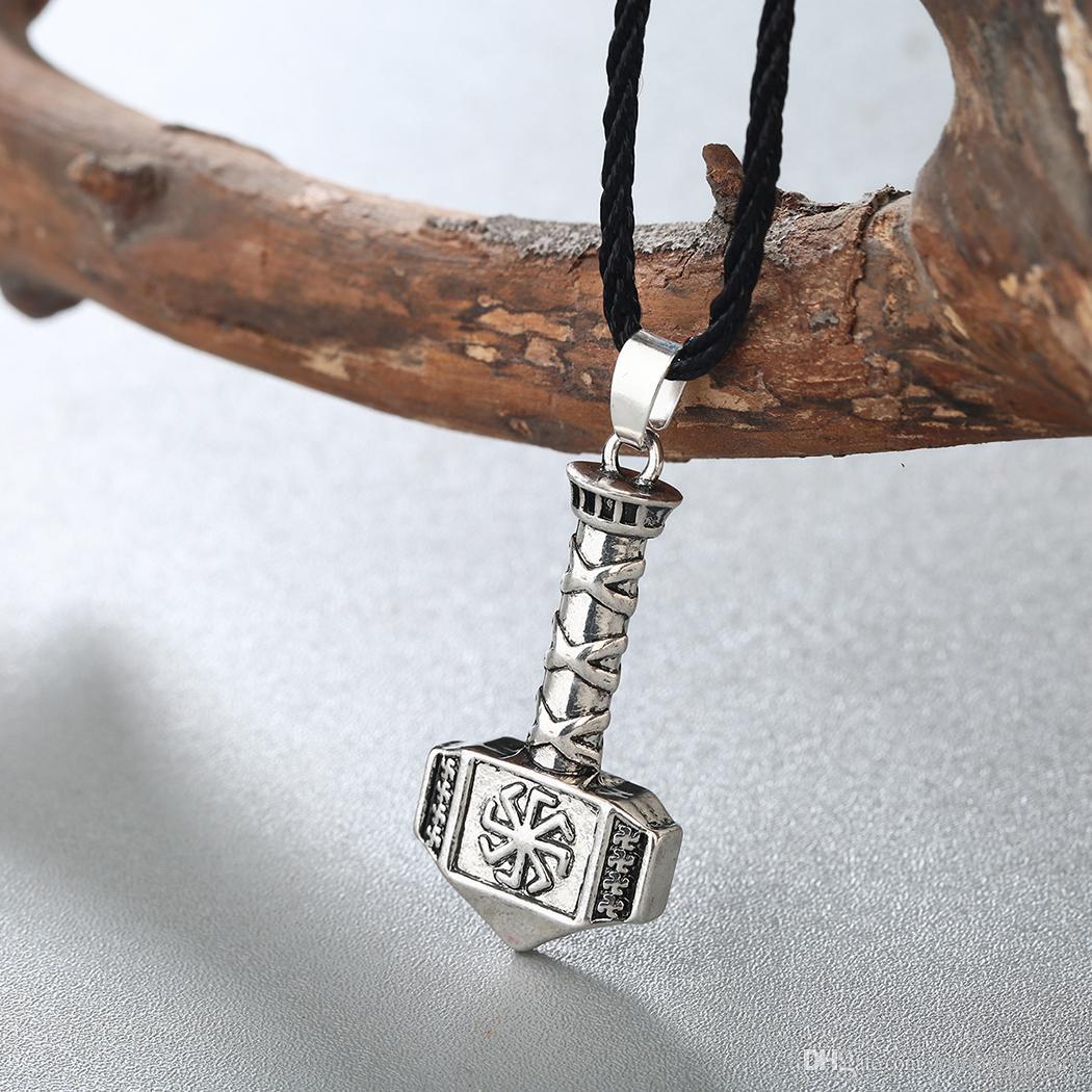 5 pçs / lote Antique Prata Cor De Ouro Kolovrat Colar Pingente Slavic Martelo De Thor Charme Simples Viking Jóias 2017 Novo Torque