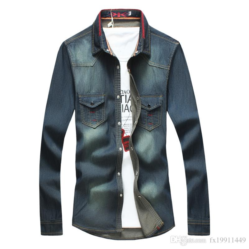 9988c9f12 2019 Plus Size M 5XL Blue Color 2018 New Arrival Denim Shirt Men Long  Sleeve Casual Jeans Design Shirts Brand Clothes From Fx19911449