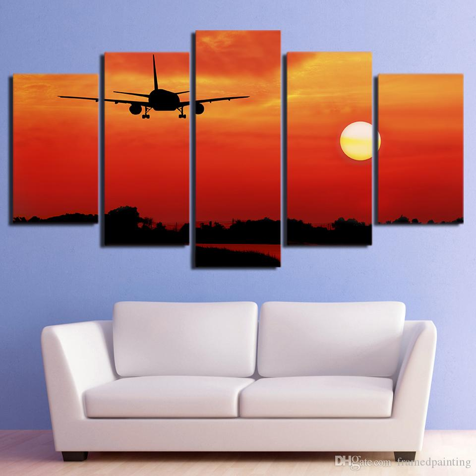 HD Printed Airplane in Red Sunset Canvas Painting Wall Pictures for Living Room Home Decor CU-2999C