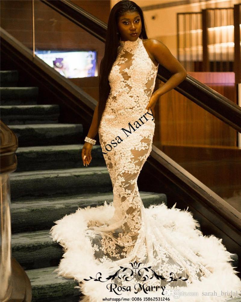 Sexy Black Girls Mermaid Feather Prom Dresses 2k18 Illusion Vintage