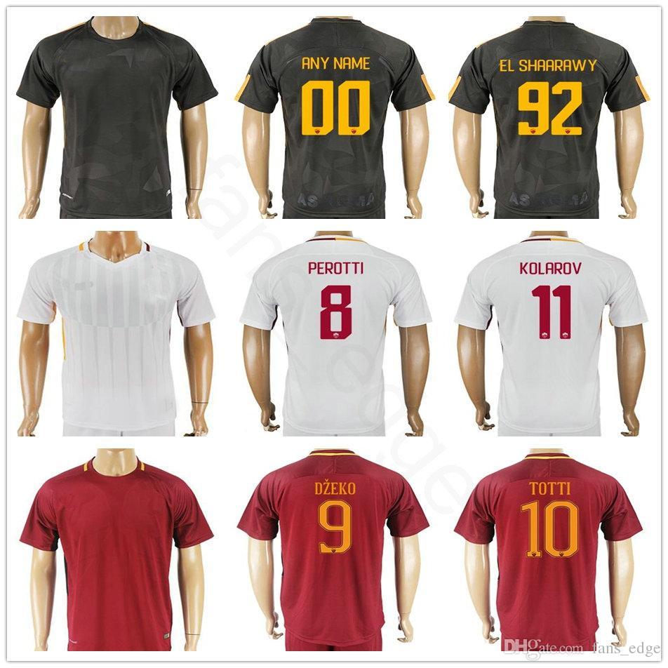 d70028cfc Compre Qualidade Tailandesa Camisa De Futebol 4 NAINGGOLAN 10 TOTTI 9 DZEKO  8 PEROTTI 16 DE ROSSI 92 EL SHAARAWY Personalizado Casa Fora Camisa De  Futebol ...
