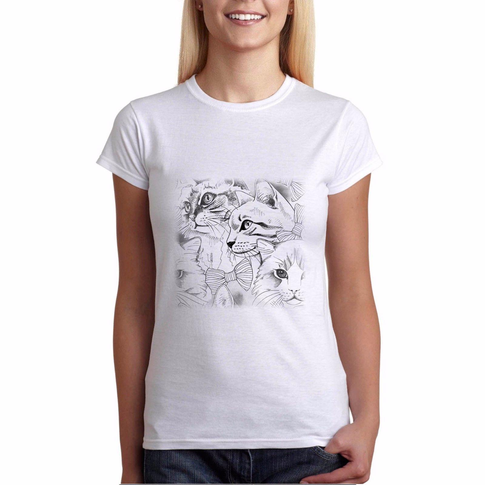 6a45952569a979 Acquista T Shirt Da Donna T Shirt Da Donna Gattino Da Disegno In Cotone  Nero / Bianco Stampato Best Gift New Fashion T Shirt Donna Summer Shirt  Girls A ...