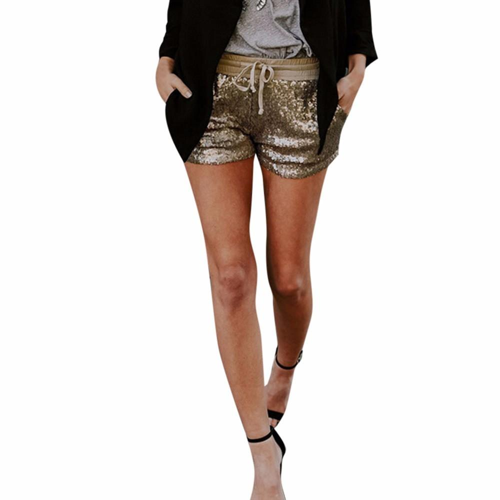 486fc6fbd7 Pantaloncini primavera moda 2019 Donna Pantaloncini paillettes lucidi Vita  media pantaloncini tasca sexy Caldi pantaloni caldi