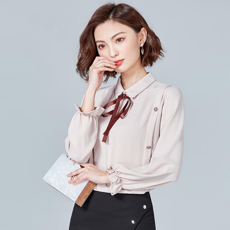 Großhandel Biboyamall Blusen Für Frauen Frühling Frauen Tops Langarm Casual  Chiffon Bluse Weibliche Arbeitskleidung Solide Rosa Büro Shirts Von Buxue,  ... c3cd3717dd