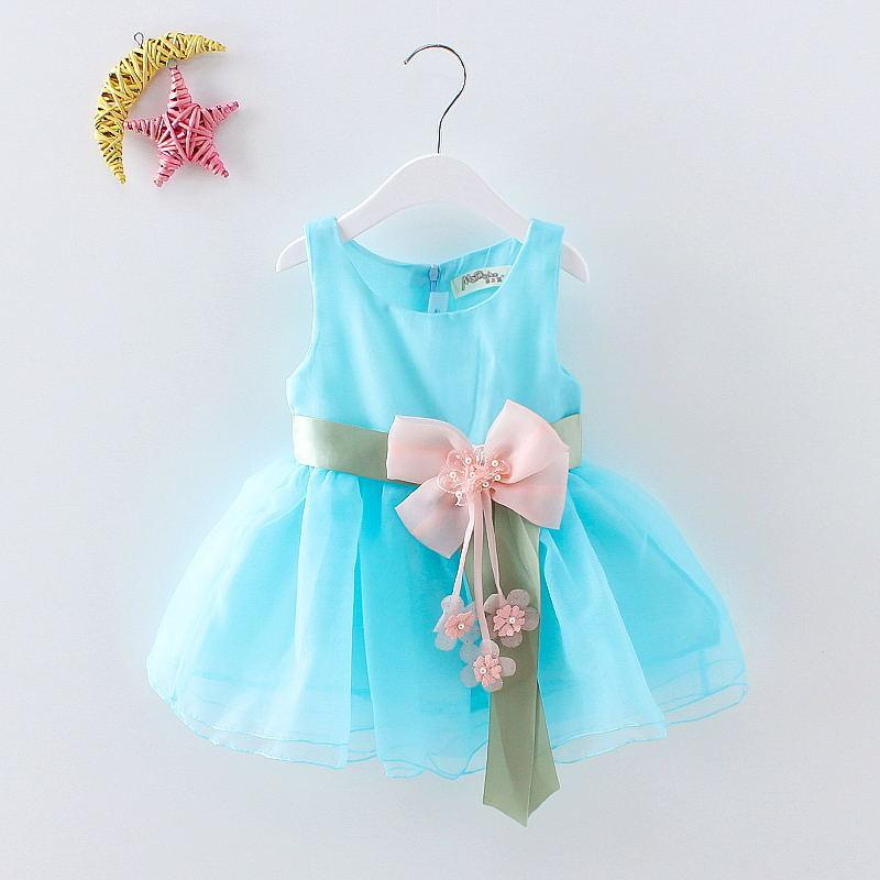 0-2 Yıl Bebek Giyim Kız Elbise Yaz Kız Yay Yelek Elbise Bebek Kız Kolsuz Nokta Elbise Bebek Doğum Günü Elbise Giysileri