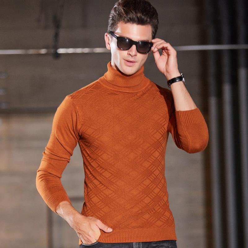 384f4a74ac0 Autumn Winter Sweater Casual Sweater Men's O-Neck Long Sleeve Pullover Warm  Men Turtleneck Cotton Knitting Purecolor NEW Hot