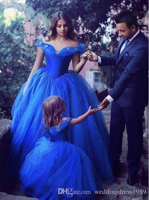 Cinderella Girls Pageant Dress 2018 Princess Royal Blue Abito da prima comunione Gown Kids Party Abiti da cerimonia Abiti da sposa ragazze
