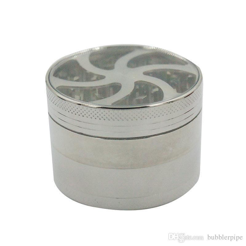 Metal Tütün kırıcı Herb Öğütücüler Temizle Üst Pencere Aydınlatma Ile 63mm sigara Öğütücüler Değirmeni baharat öğütücüler 3 renkler 4 parça