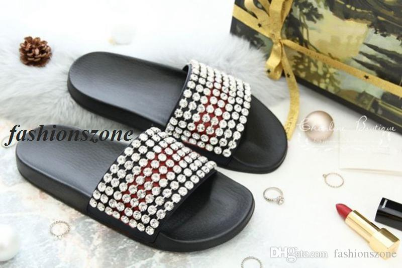 ee5efbc21b0 2018 Mens And Womens Fashion Crystal Embellished Leather And Rubber Slides  Sandals Adults Beach Flip Flop Size Euro35 45 Platform Shoes Prom Shoes  From ...