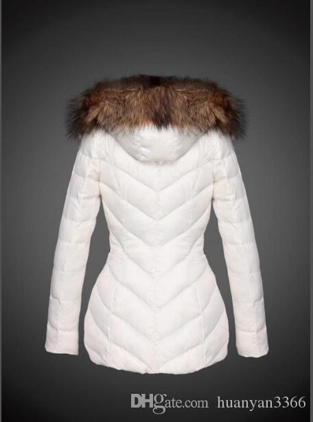 Fransa Lüks Kış Coat Kadınlar İnce Dış Giyim% 90 Beyaz Kaz Tüyü Mont Standı Yaka Casual Slim Parkas Katı Ceket çevrimiçi E758