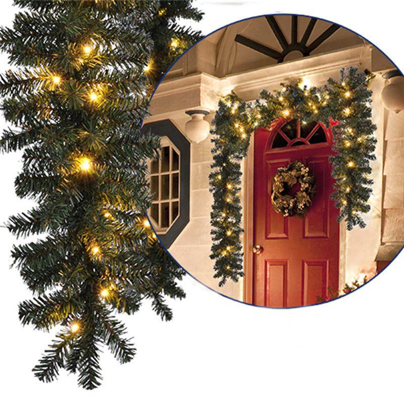 Artificial Christmas Garland Green Pine Tree Wedding Decoration New Year Xmas Props Diy Feliz Navidad Party Led String Light