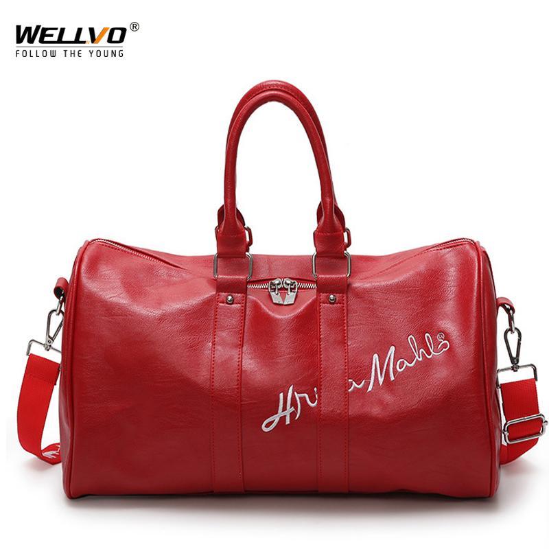 c8f4c8c050e3 Fashion PU Leather Luggage Bag Women Men Letters Embroidery Travel ...
