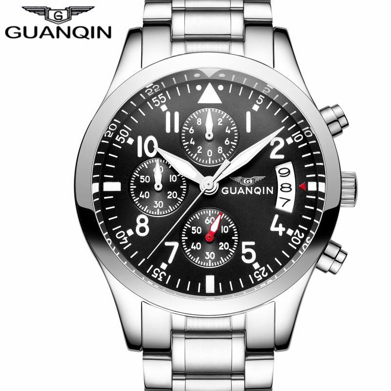 666c2bf80b7 Compre Nova Guanqin Mens Relógios Top Marca De Luxo Homem De Negócios  Relógio De Quartzo Dos Homens Do Esporte De Aço Inoxidável Relógio À Prova D   água ...