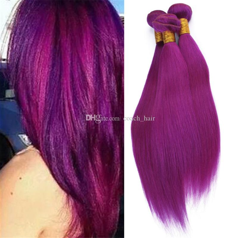 Virgin Malaysian Purple Color Human Hair Weave 3 Bundles Deals Silk  Straight Light Purple Pink Hair Extensions Double Wefts 300g Lot
