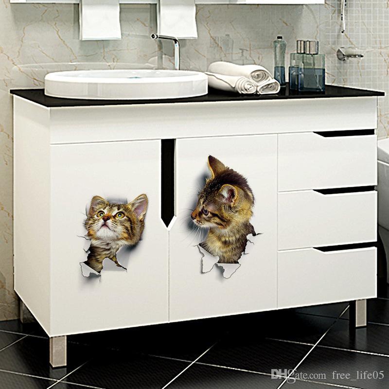 JI-044 3D Cats Wall Sticker Toilet Stickers Hole View Vivid Dogs Bathroom Room Decoration Animal Vinyl Decals Art Sticker Wall Poster