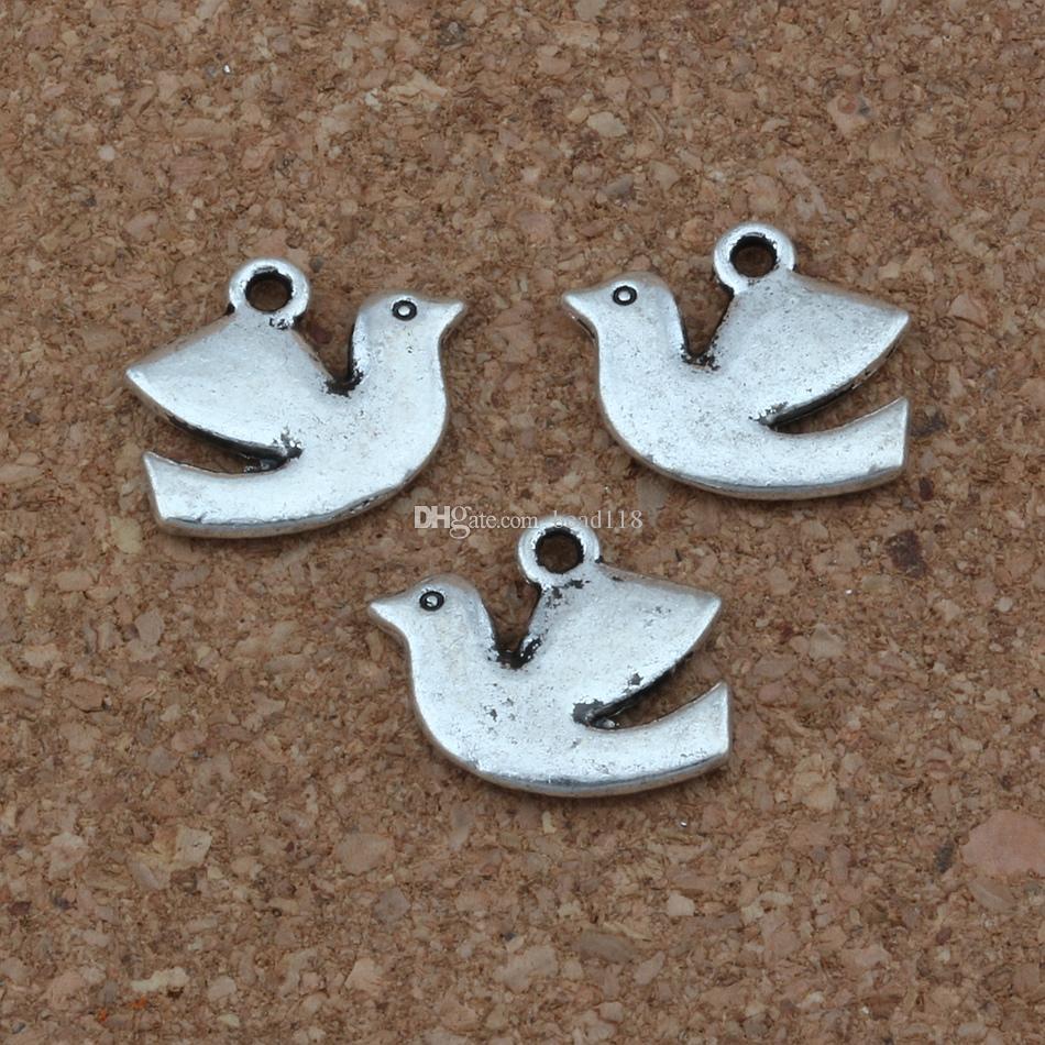 100ピースアンティークシルバーピース鳩の鳥の魅力のペンダントのジュエリー作り、イヤリング、ネックレスDIYアクセサリー17x13.5mm A-250