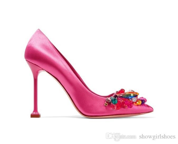 Rose rosse di seta tacchi alti scarpe da donna colorate con borchie di cristallo da sposa scarpe da festa sexy pompe a punta delle donne