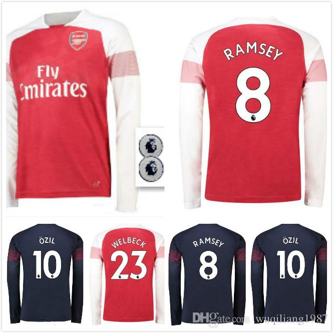 2018 2019 Arsenal Ramsey Ozil Xhaka Jersey De Fútbol De Manga Larga  Torreira Lacazette Mkhiaryan Aubameyang 18 19 Fútbol Camisetas De Manga  Larga S Xl Por ... 539c6c56b0b83