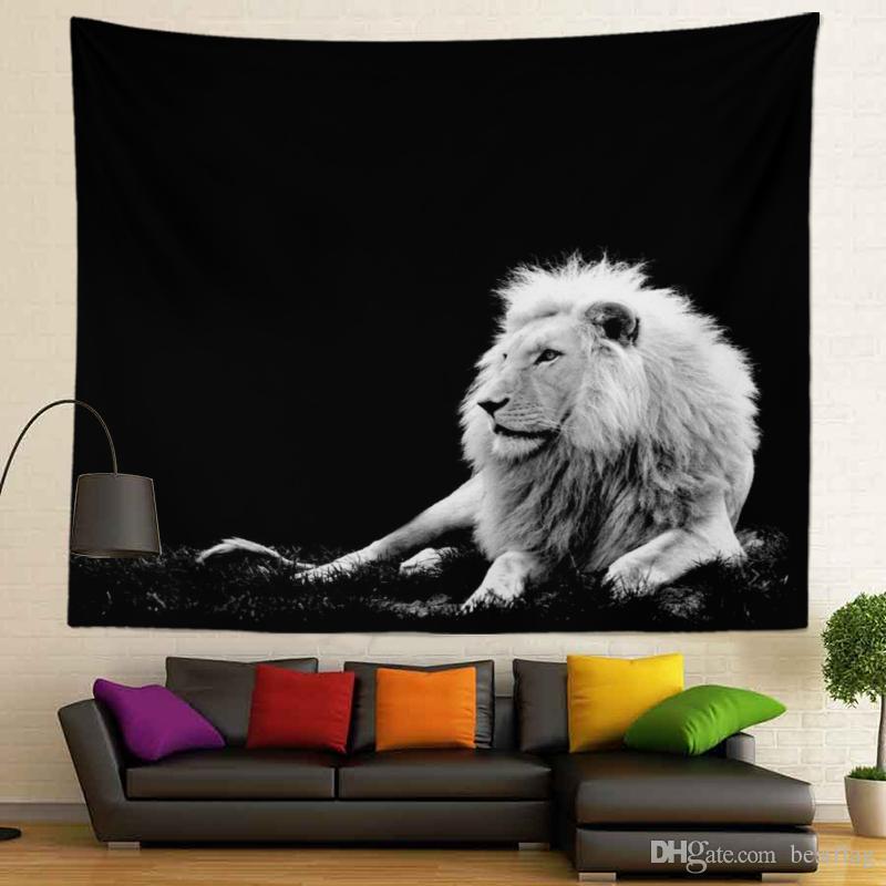 3D Hayvanlar Siyah Beyaz Tasarım Ev Dekorasyon Sublime Baskılı Özel Boyut 130x150cm 400g Duvar boyunda goblen