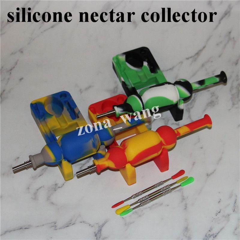 L'ultimo set di nettare collezionisti in silicone set titanio punta nector collettore in silicone bubbler piattaforme petrolifere Micro NC tubi l'acqua in vetro DHL gratis