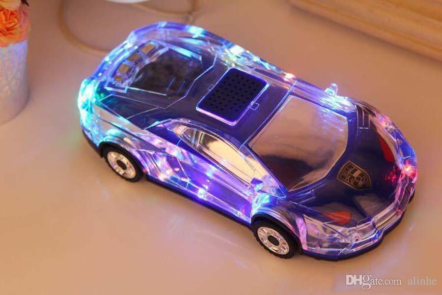 MLL-63 Cristallo colorato LED forma di auto Mini altoparlante senza fili Bluetooth portatile Supporto stereo Subwoofer USB Radio FM Lettore musicale MP3