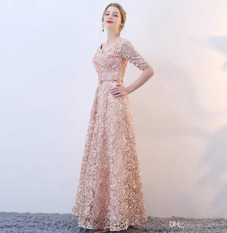 abe6ccbb2809c Elegant Red Khaki Long Prom Dresses 2018 V Neck Half Sleeves Cheap Evening  Dresses Corset Semi Formal Gowns Banquet Party Dress