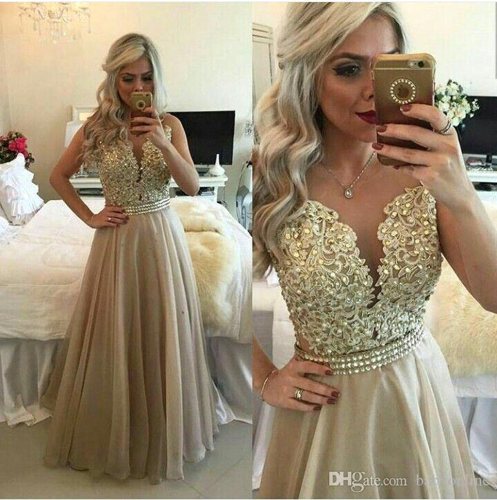 10efb33d89a Popular Gold Champagne Sequins Appliqued Prom Dresses Formal Occasion Party Evening  Gowns A Line Sexy V Neck Floor Length Vestidos BA9784 50s Prom Dresses ...