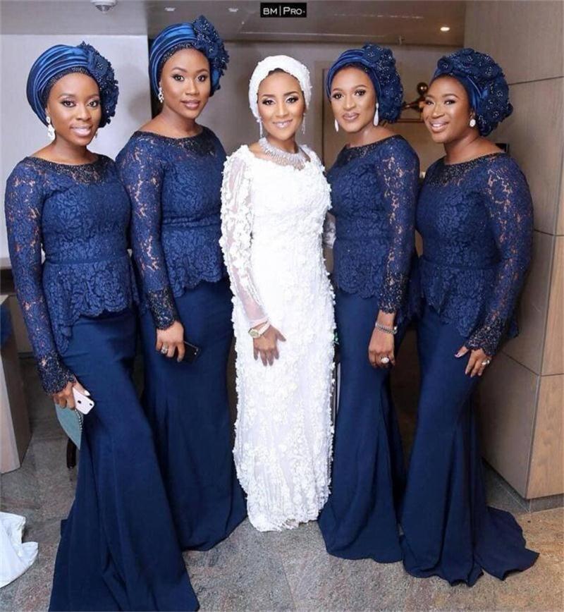 1eb1e47ca1 African Aso Ebi Mermaid Bridesmaid Dresses Navy Blue Long Sleeves Evening Dress  Peplum Lace African Women Wear Wedding Guest Dress Party Dresses Plus Size  ...