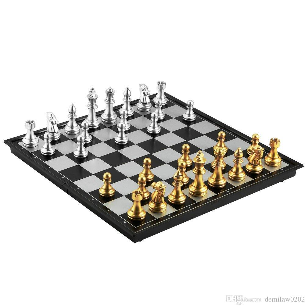 OBCANOE Magnetic Travel Chess Traditional Folding Chess Board With 32 Chess  Pieces Great Game Choice On The Trip Or At Home Chess Board Board Game  Chessman ...
