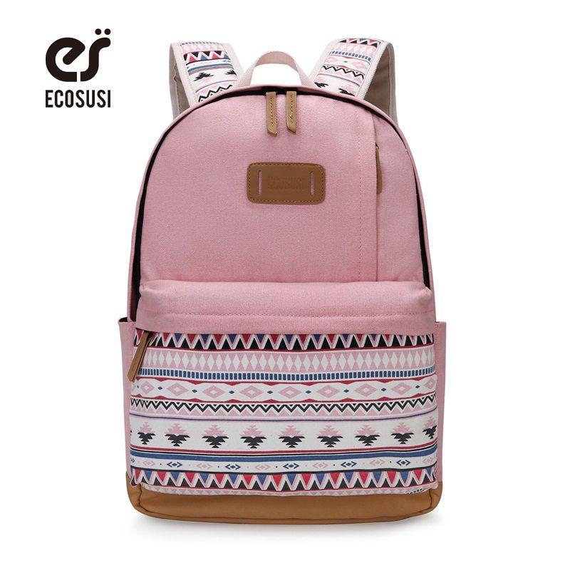 23aced0398 ECOSUSI Canvas Printing Backpack Women Cute School Backpacfor Teenage Girls  Vintage Laptop Bag Rucksack Bagpack Female Wheeled Backpack Small Backpacks  From ...