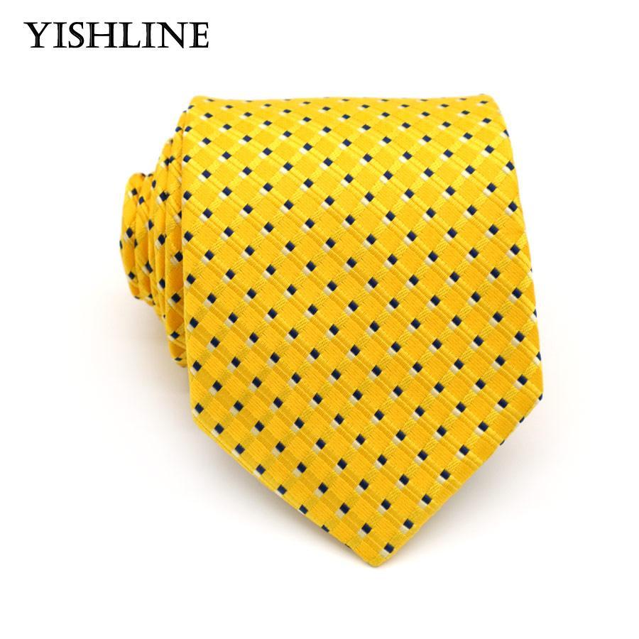 2018 xt100 brand 8cm necktie men ties designs yellow polka dot neck