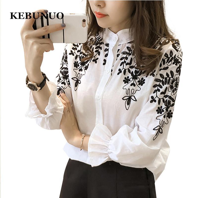 ed38931ca538 Bordado Blusa Camisa de Lino de Algodón Mujeres Blusas Camisas Femininas  Blanco Negro Tops Bordados Ropa de Moda de Verano Y1891109