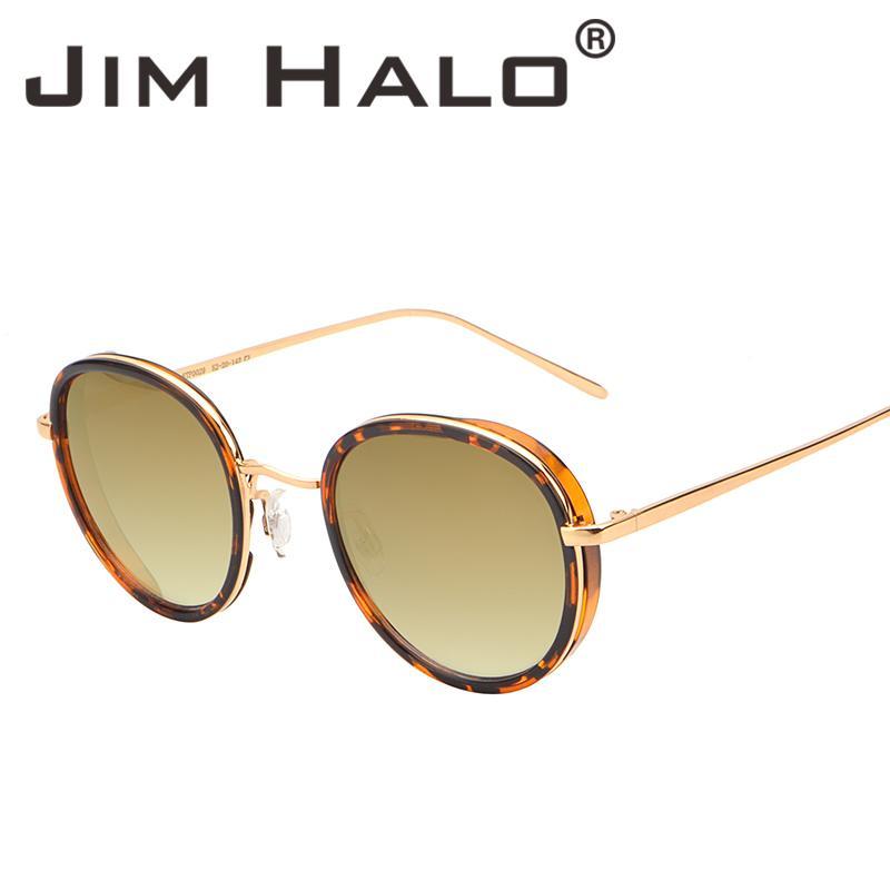 889c59714 Compre Jim Halo Vintage Rodada Espelhado Óculos De Sol Das Mulheres Dos Homens  Retro Leopardo Moldura De Metal Gradiente Lente Marrom Óculos De Sol ...