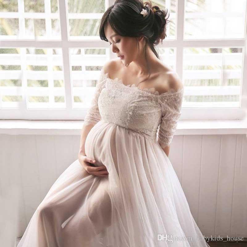 3626c1594bb3 2019 Maternity Photography Dress Off Shoulder Lace Maternity Dress Graceful  White Maxi Maternity Gown Pregnant Dress For Photo Shoot From  Babykids_house, ...