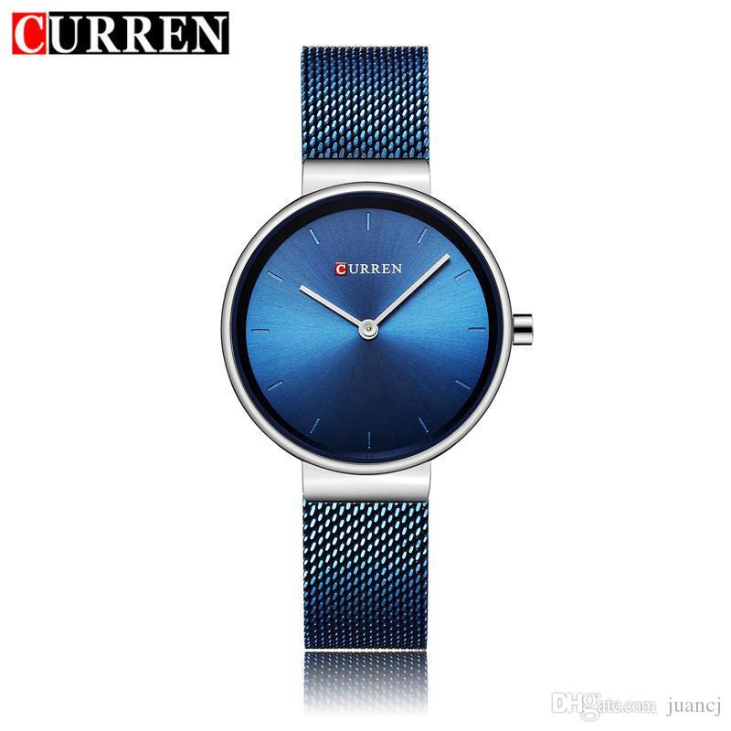 a8d37a3de9f Compre Curren Relógio Das Mulheres Relógios De Quartzo Das Senhoras De Luxo  Feminino Vestido Relógios De Pulso De Malha Fina De Aço Inoxidável Pulseira  ...