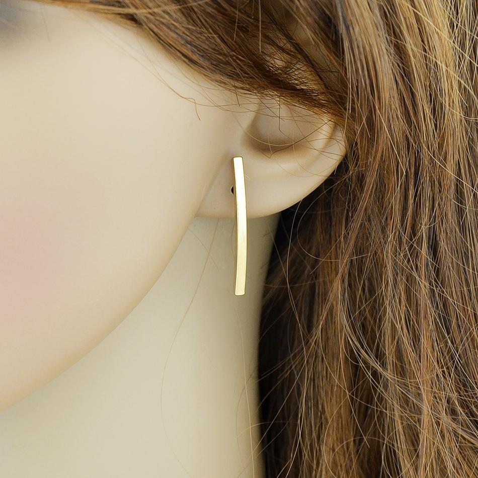 FANHUA New Minimalist Jewelry Strip Earrings Punk Style Fashion Gold-Color Silver Color Black Color Stud Earrings Female