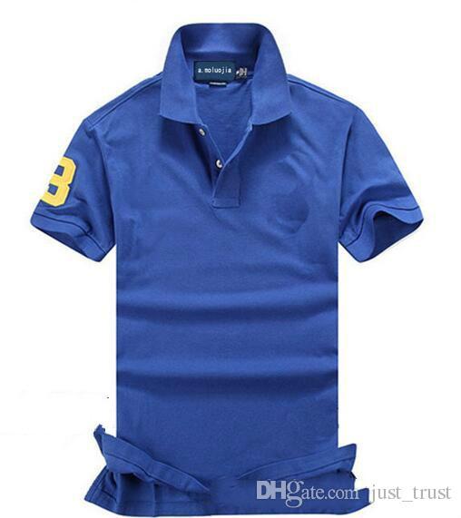 2018 Verão Cavalo Grande Bordado Pônei Pólo Camisa Dos Homens de Manga Curta Casuais Camisas Dos Homens Costumes Fit Polo Homme camisetas Algodão Tees Polo