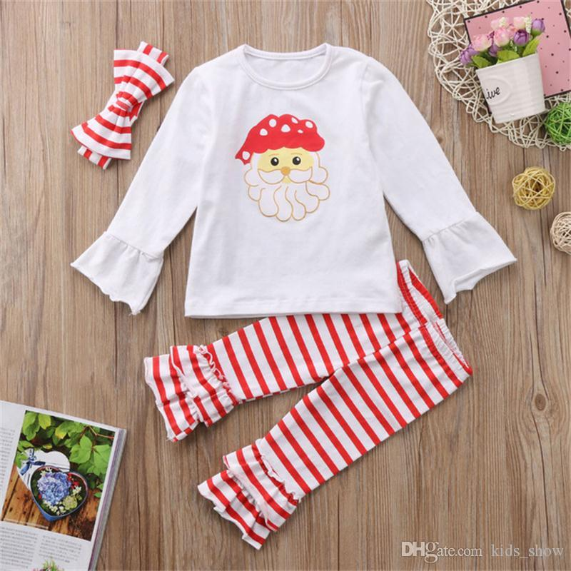 Fashion Christmas Kids clothing set Baby Girls long sleeve Santa Claus T-shirt Tops+Striped Pants Legging Scarf Outfits Set 3pcs