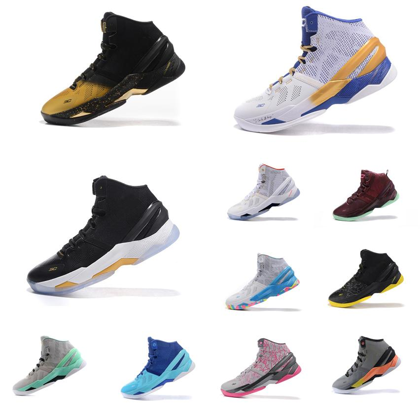 5f74b1f75551 2019 Cheap Mens UA Curry Two Basketball Shoes MVP Championship Black Gold  Christmas Easter Blue Birthday Stephen Currys 2 Sneakers Boots For Sale From  ...
