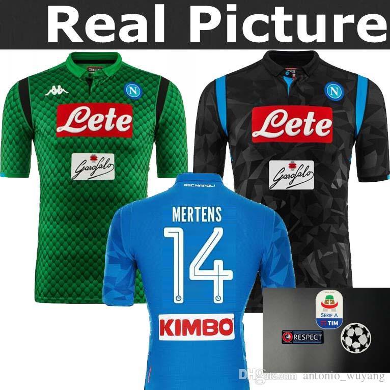 Napoli Home Blue Soccer Jersey 2018 2019 Naples Blue Soccer Camiseta 2018  Customized   14 MERTENS   17 HAMSIK   24 INSIGNE Uniforme De Fútbol Venta  Por ... f44e6f93e9380