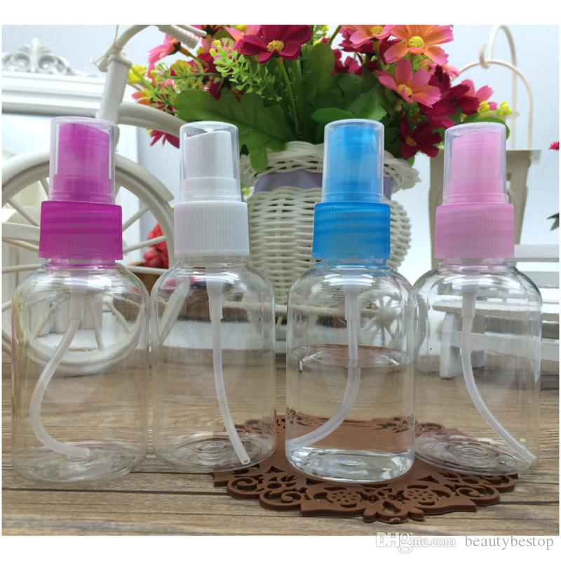 Portable 50ml Empty Plastic Spray Bottles Wholesale Colorful PET Cosmetic Packing Bottles DHL