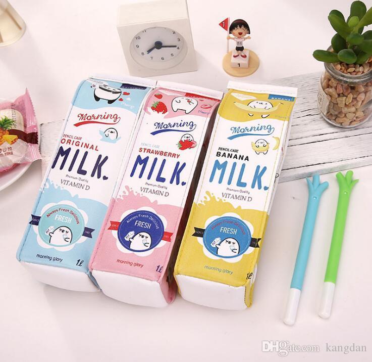 Carino Kawaii Creativo Milk Cartoon Scuola Pencil Pen Sacchetto di cancelleria Studente Borsa della moneta Forniture scolastiche Bambini Bambini Regalo di compleanno