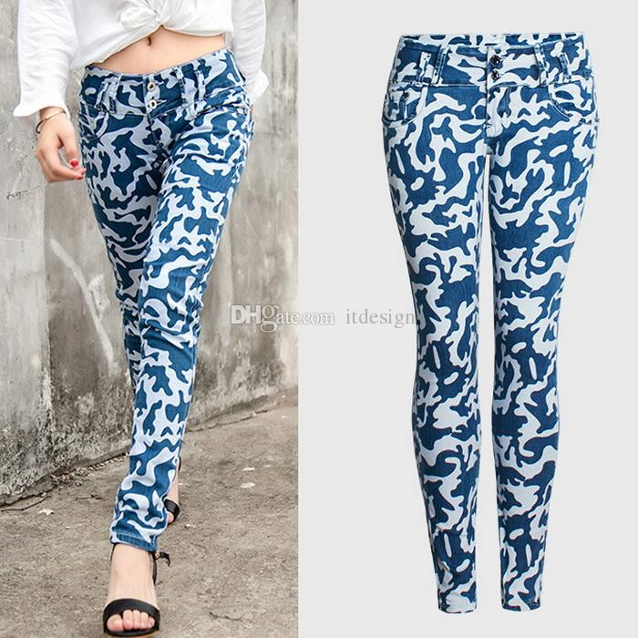 3918e8d892e Woman Floral Camouflage Jeans Skinny Leg 2018 NEW Summer Denim Trousers  Female Woman Camouflage Jeans Online with  51.89 Piece on Itdesign s Store
