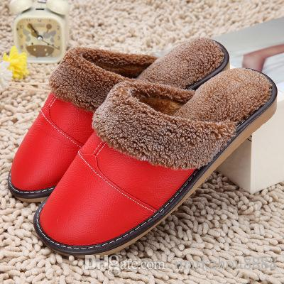 d406162766d7b Winter Warm Indoor Shoes Thick Wool Slippers Women Men Couple Furry  Sheepskin Slippers Australia Genuine Leather Slippers