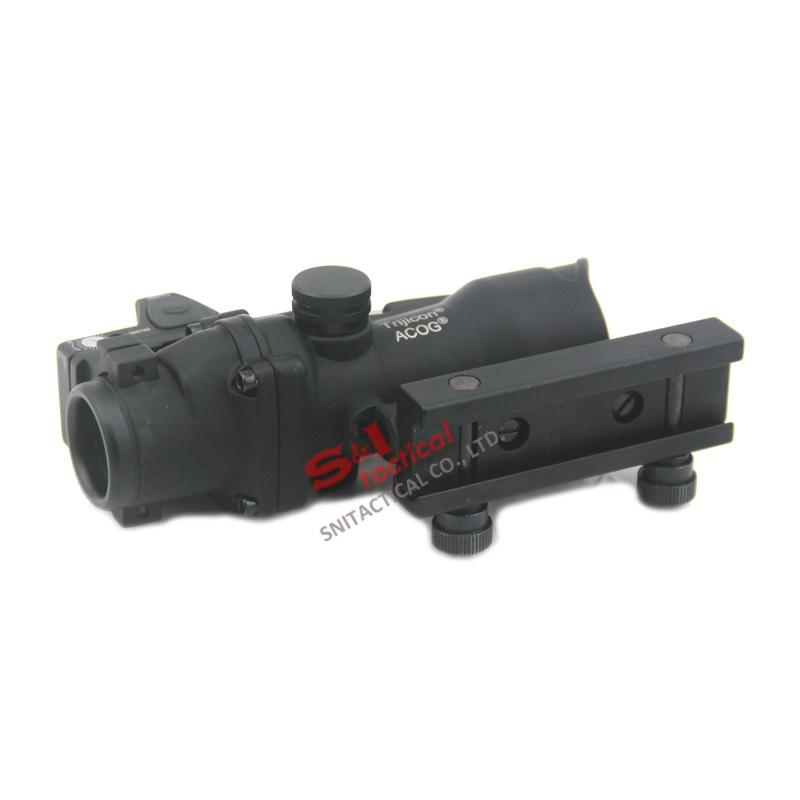 Tactical ACOG 4X32 Fiber Source Green Optical Fiber Scope w/ RMR Micro Red Dot Marked Version Black