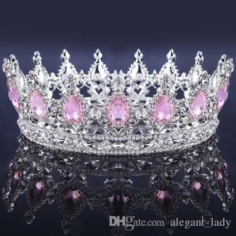 Lüks Vintage Altın Düğün Taç Alaşım Gelin Tiara Barok Kraliçe Kral Taç altın renk rhinestone tiara taç