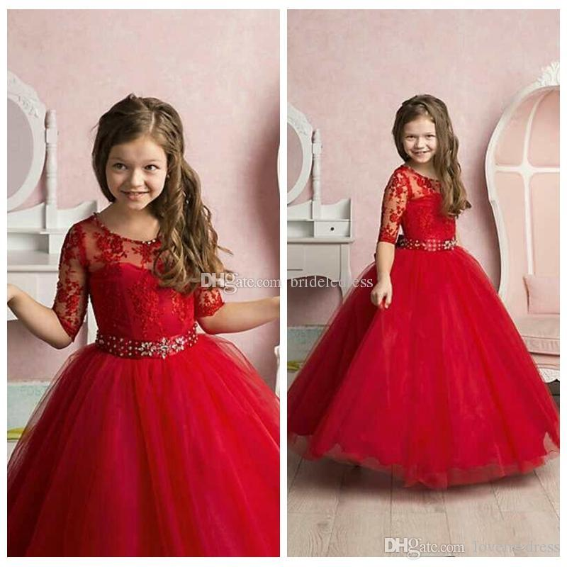 8bb81b99cecb8 Amazing Red Girls Pageant Dresses With Illusion Sleeves Jewel Neck Ball Gown  Tulle Children First Communion Birthday Dress Cheap New Girl Gowns Girl  Tutu ...