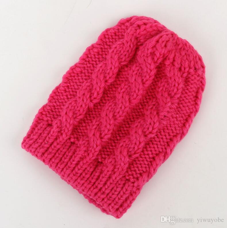 Сплошной цвет зима вязаная шапочка новорожденный мальчик девочки удобная теплая шапка бесплатная доставка